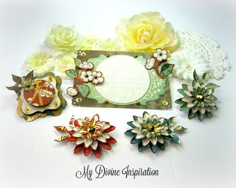 Far East Handmade Scrapbook Embellishments, Paper Embellishments, Paper Flowers for Scrapbooking Layouts Cards Mini Albums Paper Crafts