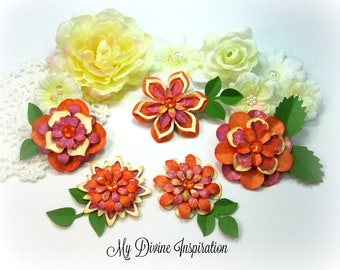 Fuchsia Orange Green and Ivory Paper Embellishments and Paper Flowers for Scrapbooking Cards Mini Albums Journals Planners and Paper crafts