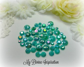 50 Teal Green Iridescent Flat Back Rhinestones, Acrylic Gems for Scrapbooking Cards Mini Albums Altered Projects and Papercrafts Jewelry DIY