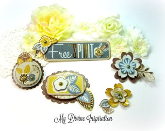Blue Brown Beige and Yellow Paper Embellishments and Paper Flowers for Scrapbooking Cards Mini Albums Tags Planners Journals and Papercrafts