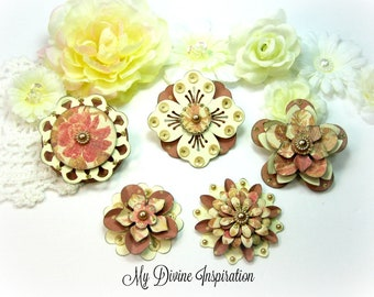 Mauve Pink and Ivory Paper Embellishments and Paper Flowers for Scrapbook Layouts Cards Mini Albums Tags and Papercrafts