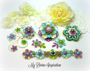 Purple Green and Turquoise Handmade Paper Embellishments and Paper Flowers for Scrapbook Layouts Cards Tags Mini Albums and Paper Crafts