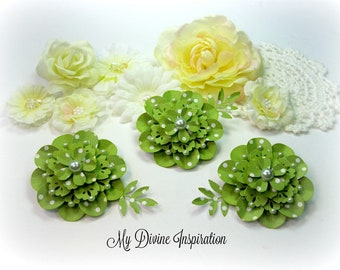 Elegant Chic Green Polka Dot Paper Embellishments, Paper Flowers for Scrapbooking Cards Mini Albums Journals Planners and Papercrafts