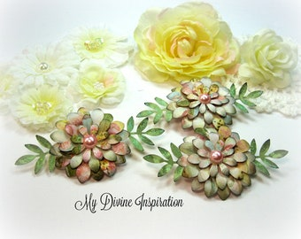 Pastel Handmade Paper Embellishments, Paper Flowers for Scrapbook Layouts Cards Mini Albums Tags Journals Planners and  Paper Crafts