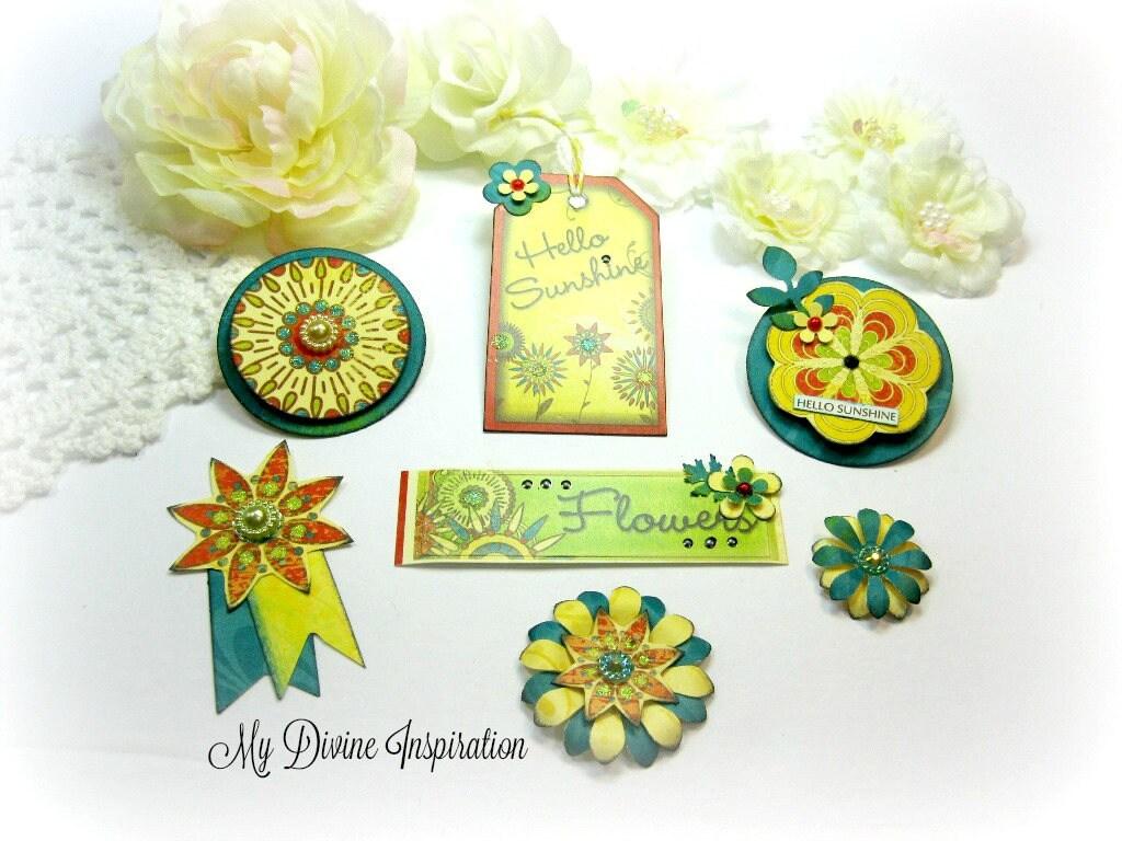 Bo Bunny Flower Child Handmade Paper Embellishments And Paper Etsy