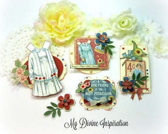 NEW Graphic 45 Penny's Paper Doll Family Paper Embellishments, Paper Flowers for Scrapbook Layouts Cards Mini Albums Tags and Paper crafts
