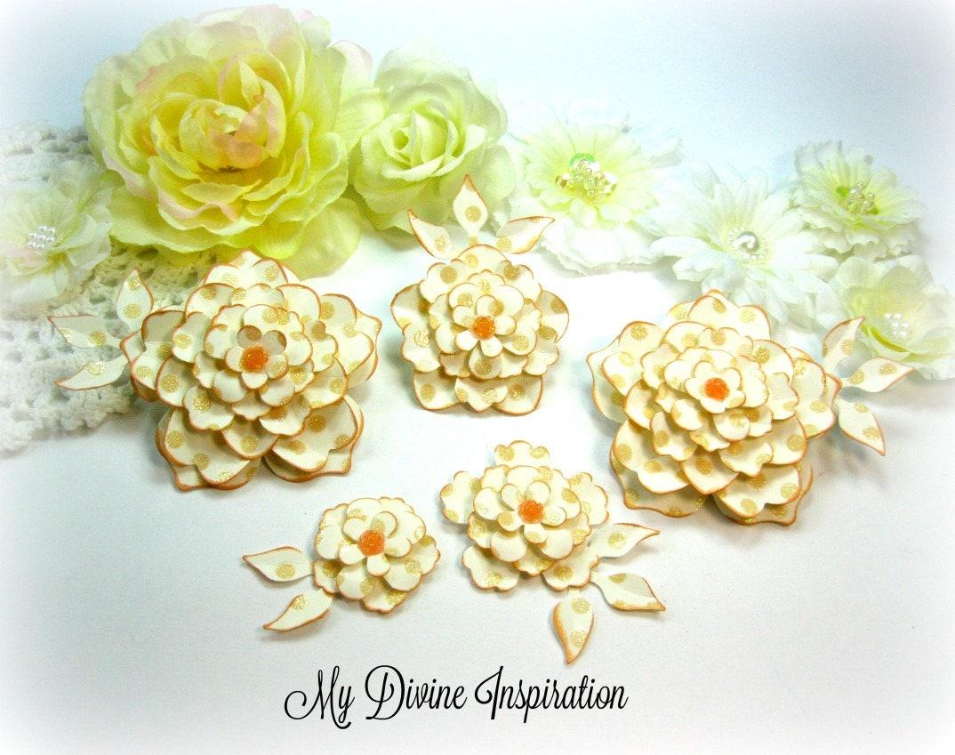 Ivory And Peach Handmade Paper Flowers Paper Embellishments Etsy