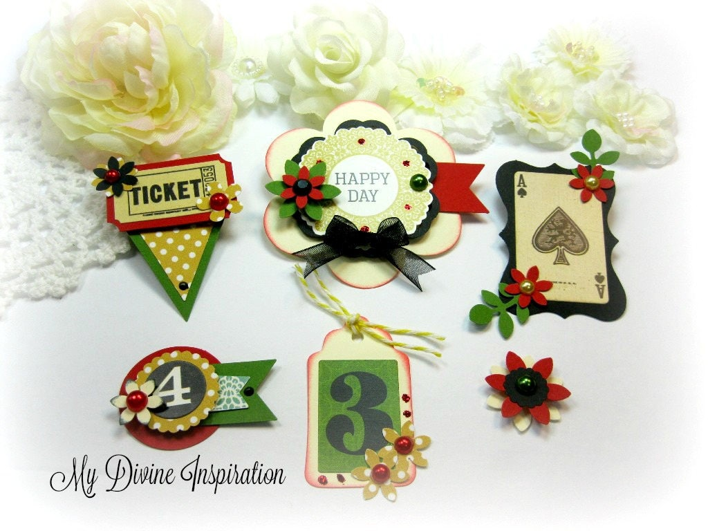 Game Playing Cards Numbers Handmade Paper Embellishments Etsy