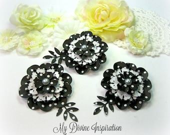 Elegant Chic Black & White Polka Dot Paper Embellishments, Paper Flowers for Scrapbooks Cards Mini Albums Journals Planners and Papercrafts
