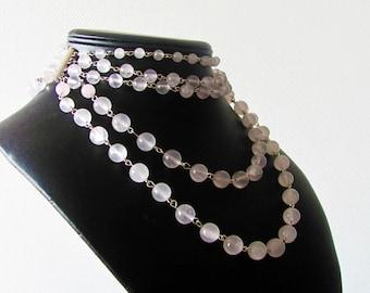 Pink quartz beads chocker, retro, rococo, vintage wedding