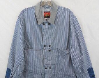 b2774c5c8b4 Carter Vintage Hickory Stripe Chore Coat USA Made Sz Medium Engineers Denim