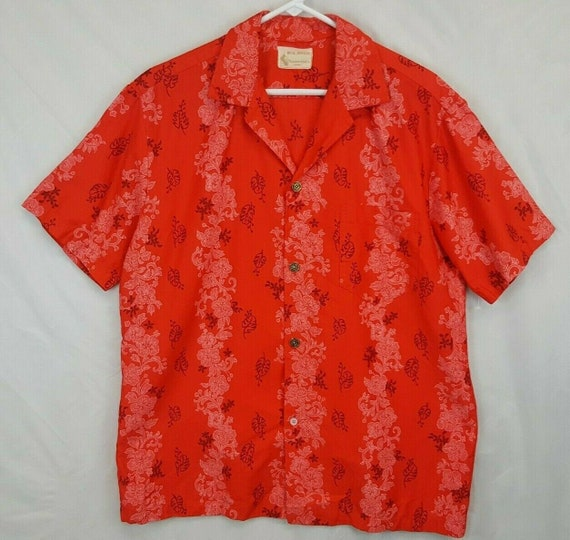 VTG 50's Royal Hawaiian Red Shirt Floral Lei Rocka
