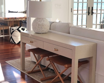 Grasscloth Wrapped Console W/Drawers - Customizable