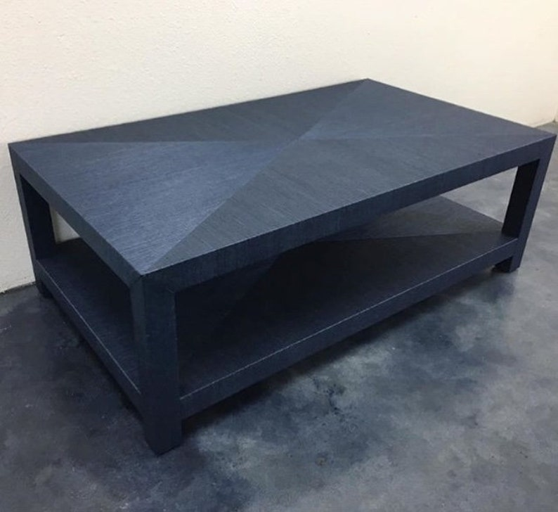 Custom Grasscloth Coffee Table/ Cocktail Table  Mitered Top image 0