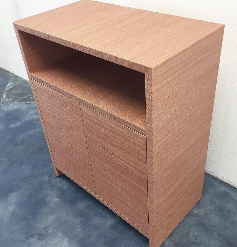 Grasscloth Cabinet W/Shelf  Custom Built COM image 0