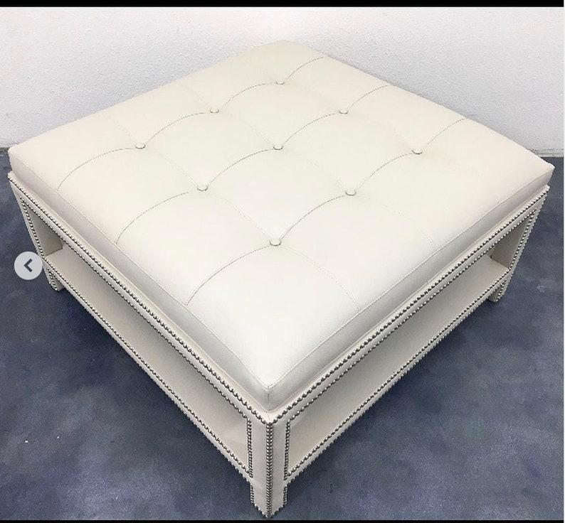 Custom Upholstered Ottoman W/Tufting and Shelf and nails COM image 0