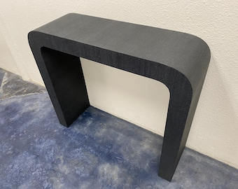Grasscloth Waterfall Table With Rounded Edge - COM