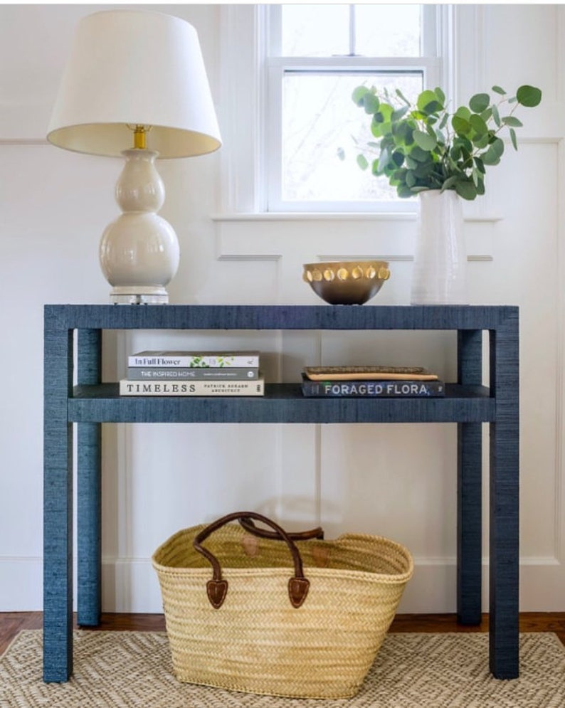 Grasscloth Wrapped Console Table W/Shelf  Custom Built To image 0
