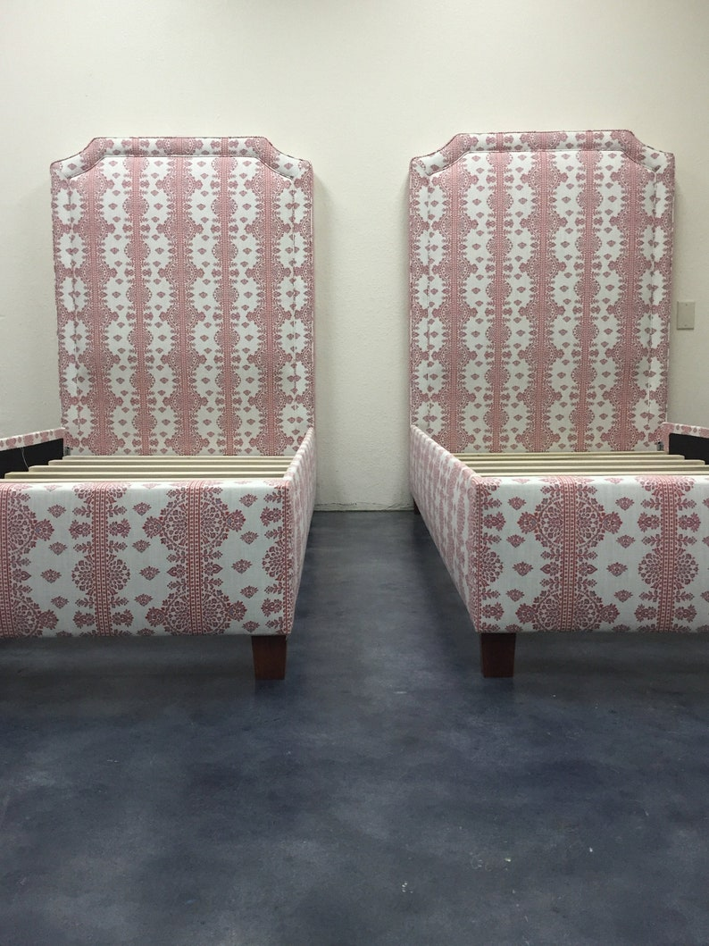 Custom Twin Bed   With Inset Piping and Notches  COM image 0