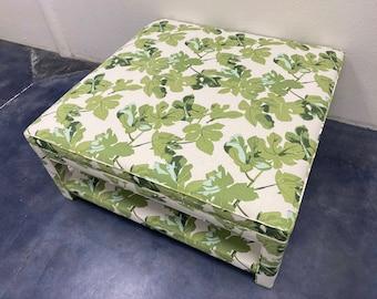 Custom Upholstered Ottoman W/Upholstered Shelf