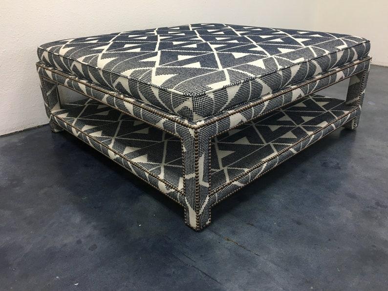 Custom Upholstered Ottoman W/Shelf image 0