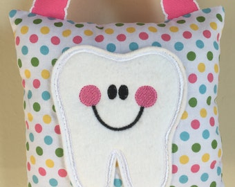 Tooth Fairy Pillow- Pastel Polka Dots, Pink, Yellow, Green and Blue Polka Dot Pillow with Pink Ribbon