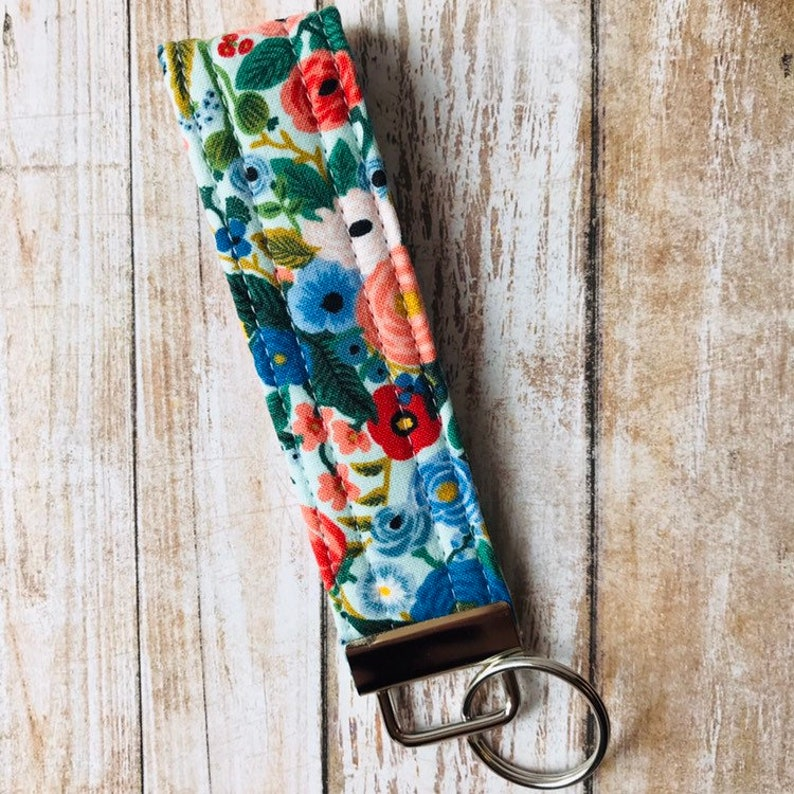 Floral Keychain Garden Party in Blue Floral Wristlet Key Fob Gift Idea Quilted Key Fob