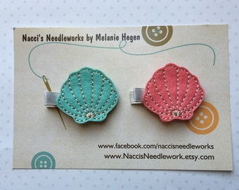Felt Hair Clips- Seashell Hair Clips- sold individually or as a set of two.