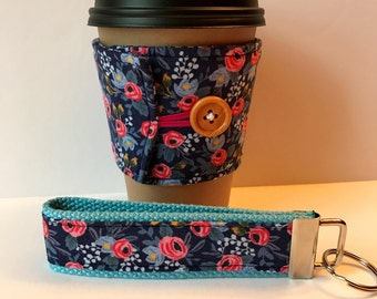 Coffee Cozy - Floral Fabric Coffee Cozy - Navy Blue Floral Cup Sleeve - Reusable Cup Sleeve