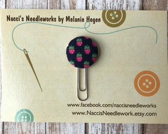 Fabric Button Planner Clips - Planner Paper Clips - Navy Strawberry Paper Clip- Planner Accessories- Gift Idea