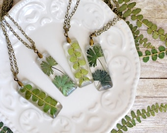 Terrarium necklace, Nature necklace fern jewelry Mom gift Eco resin jewelry Gift under 40, Terrarium necklace, mothers day gift