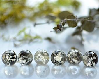 Real Flower earrings, White baby breath flower, Natural jewelry, terrarium earrings, wedding flowers jewelry