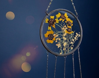 Pressed flower round glass wall hanging Suncatcher- Herbarium wall décor, Crystal Suncatcher, Yellow Coreopsis and Lilly of the Valley