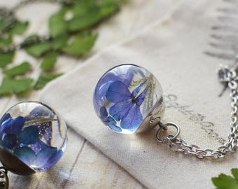 Pressed flower necklace blue verbena nature inspired jewelry botanical jewelry, real flower jewelry