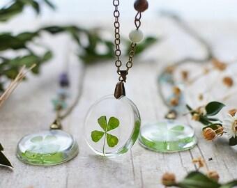 Four leaf clover necklace, pressed leaf, st patrick's day Lucky 4 leaf clover necklace mothers day jewelry