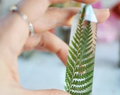 Resin crystals, floral terrarium, bohemian style decor, crystal tower, hippie gifts - Fern leaf