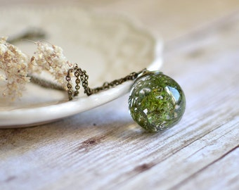 Moss Terrarium necklace Moss Necklace Woodland Necklace Resin jewelry Gift under 50  Gift for her