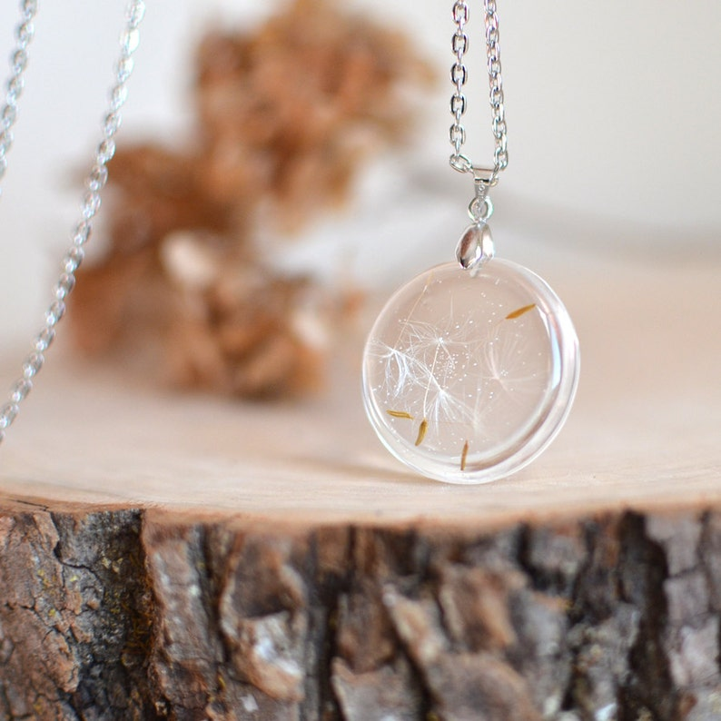Dandelion seed necklace, Make a wish terrarium necklace, nature lover gift, Mother's day gift idea