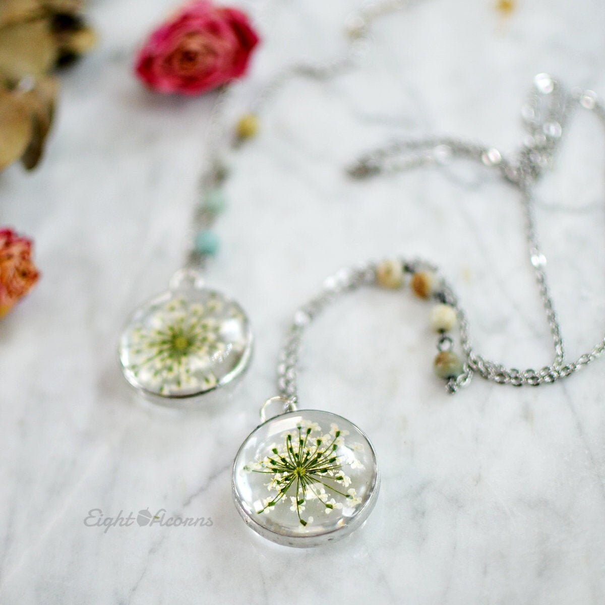 Real Queen Anne/'s Lace Dried Flowers /& Painted Glass Cherry Blossom Necklace