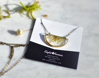 Mothers day gift, Semicircle brass minimalist pendant, pressed Queen Anne's Lace, flower lover gift