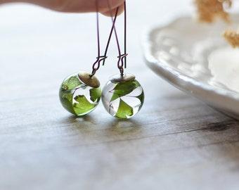 Fern earrings terrarium jewelry Gift For Her fern terrarium nature jewelry maidenhair fern eco resin jewelry