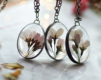 Mother's day gift, Pressed cherry blossom pendant, flower terrarium pendant, natural jewelry, unique gift for her, sakura neklcace