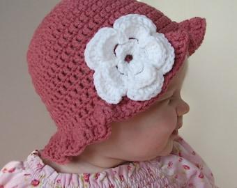 Baby Hat Crochet Pattern - Floppy Brim Sunhat - 3 sizes included PDF 048