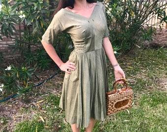 Vintage 1940s green silk a-line cinched waist dress, size XS