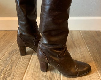 138f255e490 Vintage 1970s YVES SAINT LAURENT brown leather western inspired high heeled  knee high boots, size 6