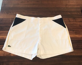 d3b7bb9fa5 Vintage 1970s IZOD LACOSTE white cotton   navy blue terry cloth short-shorts  w  yellow piping