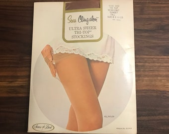 0fce46b81 Vintage 1960s nos deadstock SEARS Cling-alon nude thigh-high hoisery    pantyhose   stockings