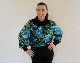 7cc33ddb961da Vintage 1970s blue - green velvet floral burnout turtleneck sweater   blouse