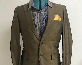 Vintage 1940s KINGSRIDGE olive green silk taffeta men's blazer, size 40 / 42