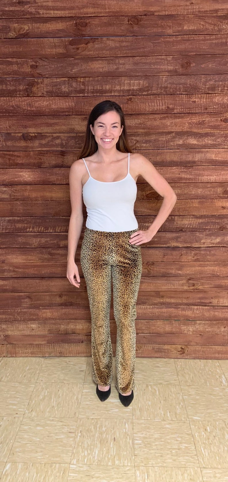 Vintage 1990s 90s does 70s NOBO NO BOUNDARIES velvet leopard print flare pants size xs or Small